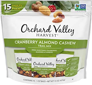 ORCHARD VALLEY HARVEST Cranberry Almond Cashew Trail Mix, 1 oz (Pack of 15), Non-GMO, No Artificial Ingredients