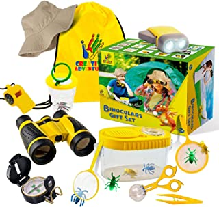 Versatile Outdoor Explorer, Bug Catcher and Bug Collector Kit|Hat, Kids Binocular, Pretend Bugs, Flashlight, Compass, Magnifying Glass and More | Boys Girls Gift Age 3,4,5,6,7,8,9 (20 Pieces)
