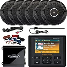 Marine Audio AM/FM USB Bluetooth Waterproof Stereo, 6 x 6.5 Dual Cone Black Stereo Speakers, 2-Channel 400W Car Amplifier, Amp Installation Kit, Radio Antenna, AUX Interface Mount