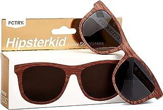 Hipsterkid Baby Opticals - Polarized Sunglasses w/Strap & Case - Kids/Girl/Boy - Break It or Lose It Warranty (Wood)(Ages 3-6))