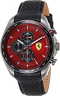 Ferrari Unisex-Adult Quartz Watch, Analog Display and Leather Strap 830650
