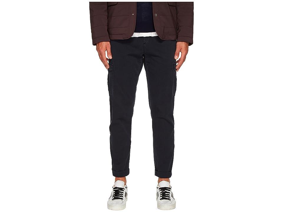eleventy Slim Fit Stretch Cotton Cargo Pants (Navy) Men