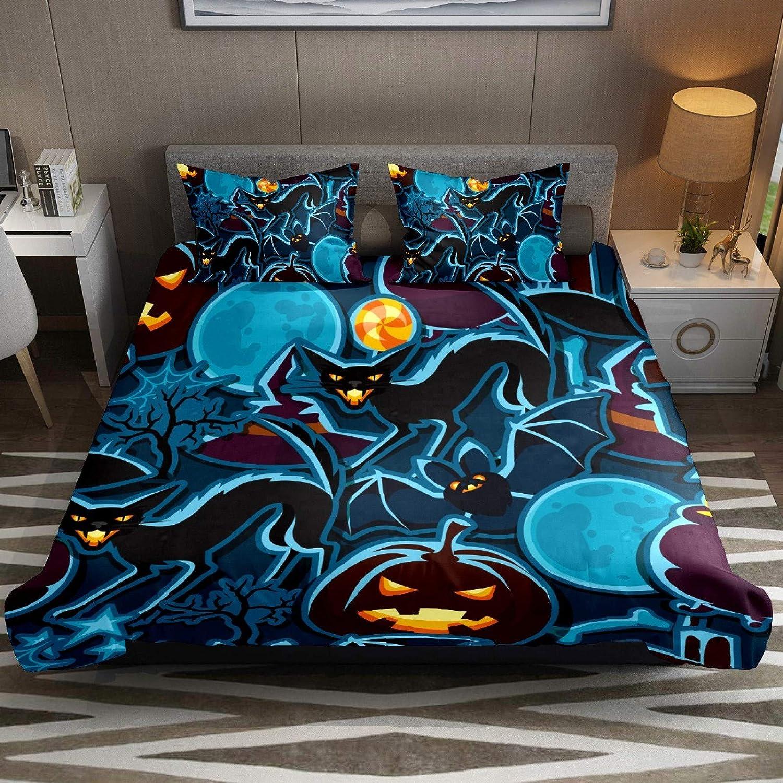 FCZ 3 Piece Bedding Sets Halloween Cat Miami Popular brand in the world Mall Silhouettes Bat D Pumpkin