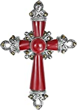 AeraVida Vintage Cross Reconstructed Red Coral & Marcasite Style Pyrite .925 Sterling Silver Pendant