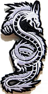 HHO White Chinese Japanese Dragon Patch Embroidered DIY Patches, Cute Applique Sew Iron on Kids Craft Patch for Bags Jackets Jeans Clothes