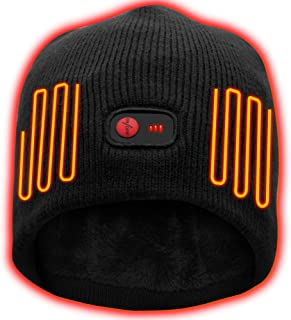 QILOVE Winter Knitting Beanie Hat Electric Battery Heated Hat for Men Women Thick Warm Cable Knit Skull Cap