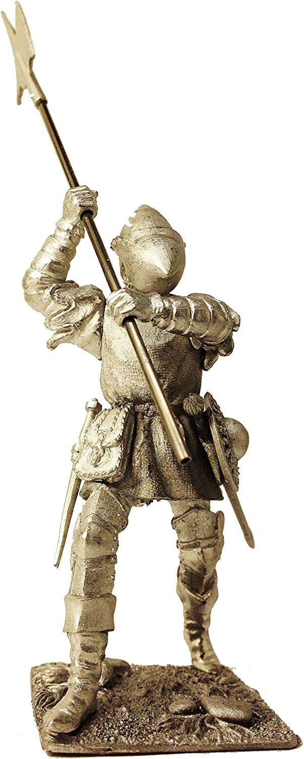 European Infantry 15 Century Alebardist Tin Metal 54mm Action Figures Toy Soldiers Size 1 32 Scale for Home Décor Accents Collectible Figurines Item  C5343.1