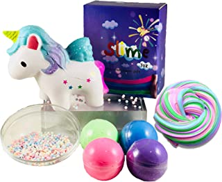 Hmc Products Diy Slime Kit and Squishies, Unicorn Gifts- Diy Fluffy Slime Kit Squishie and Unicorn Slime, Stress Relief Toys. 4 Colors of Slime, Beads and Squishy. Unicorn Toys for Girls Age 4 and Up