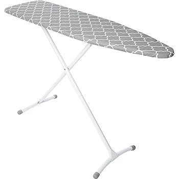HOMZ Steel Ironing Board Contour Grey & White Cover, Grey Lattice