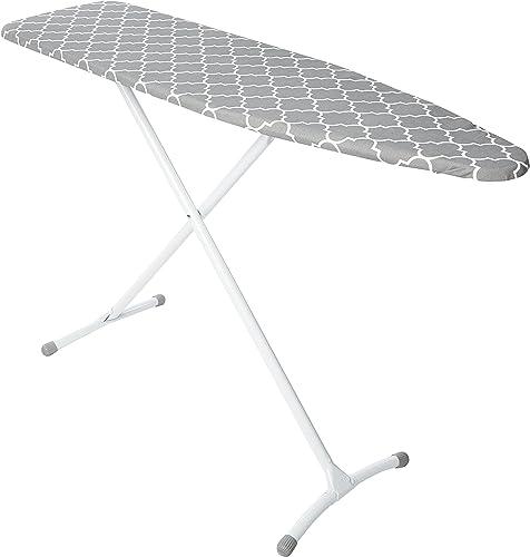 HOMZ Steel Ironing Board Contour Grey & White Cover, Grey Lattice, 53 x 35 x 13 inches