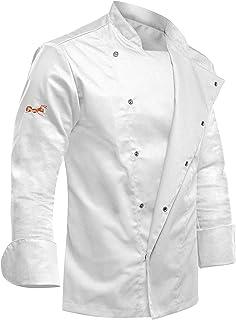 cbc4775fe9b strongAnt® - Chaqueta de Chef para Hombre, Manga Larga con Botones de  presión Ocultos Chaqueta de Panadero Blanca - Estilo Delgado, Corte  Entallado - Hecho ...