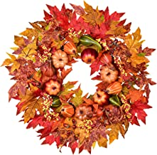 """Lvydec Artificial Maple Leaves Fall Wreath - 22"""" Autumn Wreath with Colorful Maple Leaves Pumpkin and Acorns, Harvest Wrea..."""