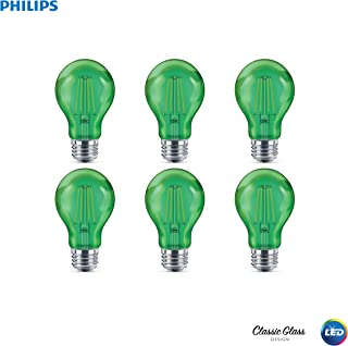 Philips LED 538249 A19 Green Party Bulbs: Filament Glass, 4 (40-Watt Equivalent), E26 Medium Screw Base, Light, 6-Pack, 6 Piece