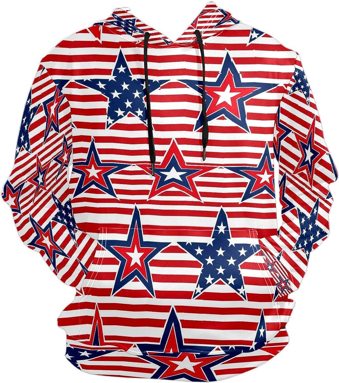 Men's Sport Hoodie American Flag Star Red Stripes Big and Tall Hoodies for Men Women Oversized Hooded Sweatshirt Hip Hop Pullover Hoodie Midweight Hood for Boys Girls