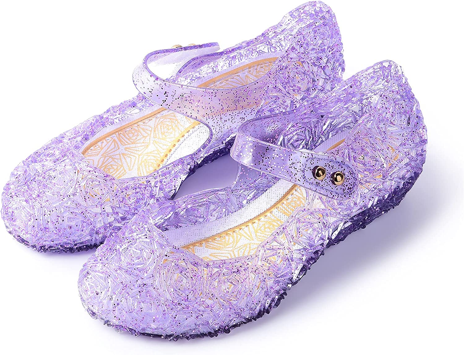 JerrisApparel Girls Princess Sandals Cosplay Party Jelly Shoes Mary Jane Costumes Flats Shoes