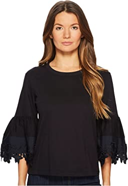 T-Shirt with Lace Trim Bell Sleeves