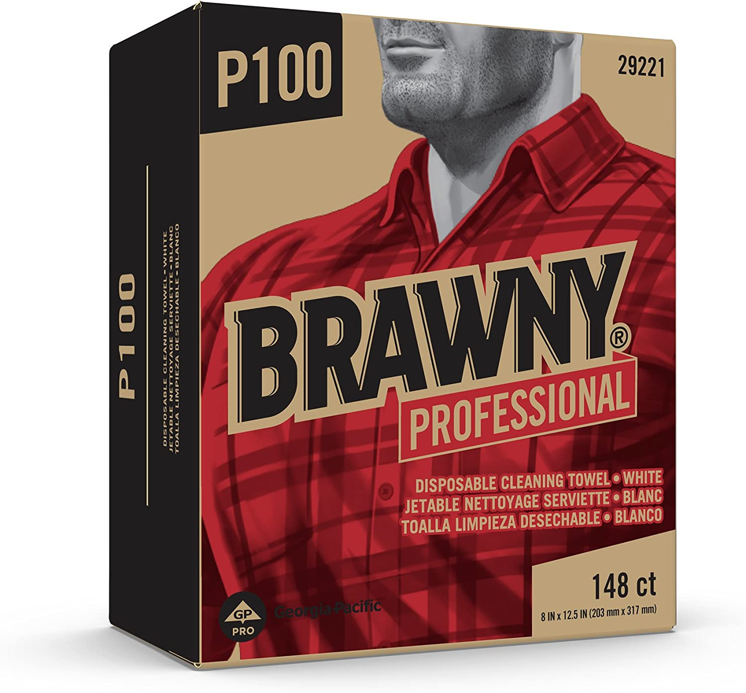 Brawny Professional P100 Disposable Cleaning Towel by GP PRO, 29221, Light Duty, Tall Box, White, 20 Boxes @ 148 Count