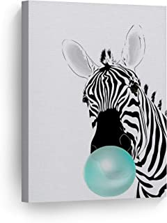 Smile Art Design Zebra Animal Bubble Gum Art Teal Blue Chewing Gum Canvas Print Black and White Wall Art Home Decoration Pop Art Living Room Kids Room Decor Nursery Ready to Hang Made in USA 12x8