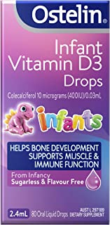 Ostelin Infant Vitamin D3 Drops - Helps with bone development - Supports muscle and immune system function, 2.4 mL