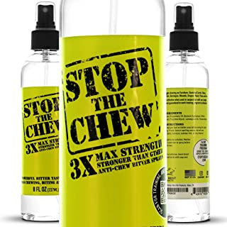 Emmy's Best Stop The Chew 3X Strength Anti Chew Bitter Spray Deterrent for Dogs & Puppies - Alcohol Free - Most Powerful Bitter Deterrent - 8oz