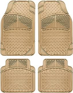 OxGord Universal Fit 4-Piece Full Set Eagle Heavy Duty Rubber Floor Mat - (Beige)