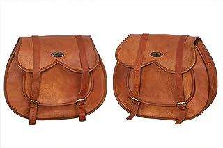 ganpati handicraft 2 x Motorrad Seitentasche, braun, große Leder Seitentasche, Satteltaschen (2 Taschen) 30,5 x 38,1 x 15,2 cm