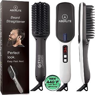 (UPGRADED) Aberlite Beard Straightener for Men - Beard Straightening Heat Brush Comb Ionic - 5 Heat Settings Up to 440F - For Home & Travel