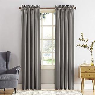 "Sun Zero Barrow Energy Efficient Rod Pocket Curtain Panel, 54"" x 95""-1, Gray"
