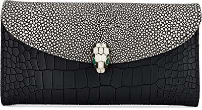 Handcrafted Leather Wallet for Women - Crocodile Print Credit Card Wallet - 12 Card Slots, Large Size