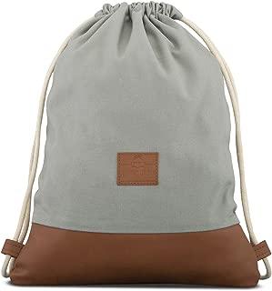 Johnny Urban Drawstring Bag Cotton Grey Brown Gymsack Gym Sack Men & Women