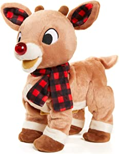 KIDS PREFERRED Rudolph The Red-Nosed Reindeer Animated Plush Toy with Light-Up Nose, Music, and Movement