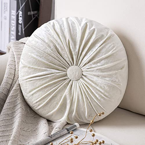 high quality Phantoscope Round Throw Pillow Handcrafted Pumpkin Velvet discount Floor Pillow discount Couch Bed and Chair, White 16 x 16 inches 40 x 40 cm online sale