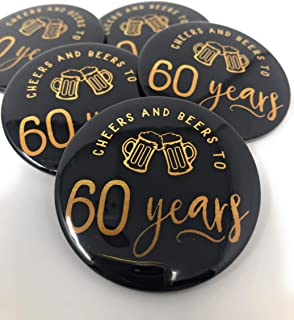 Cheers and Beers to 60 Years Pins - Set of 10-60th Birthday Party Favors