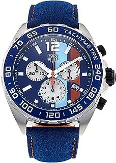 TAG Heuer Men's Formula 1 Gulf Special Edition Blue/Aqua/Orange Dial Blue Leather Strap Quartz Watch CAZ101N.FC8243
