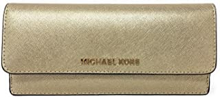 Michael Kors Jet Set Travel Pale Gold Leather Flat Wallet