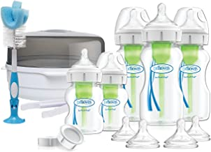 Dr. Brown's OPTIONS PLUS 2019! - Set de Regalo para Bebés. Esterilizador de Microondas + Kit de Biberones Anticólicos de Boca Ancha, sin BPA (Color: Neutro)