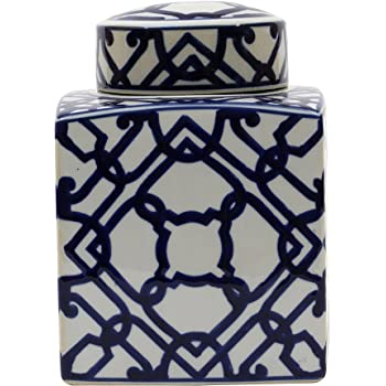 Creative Co-op Blue & White Ceramic Ginger Jar with Lid