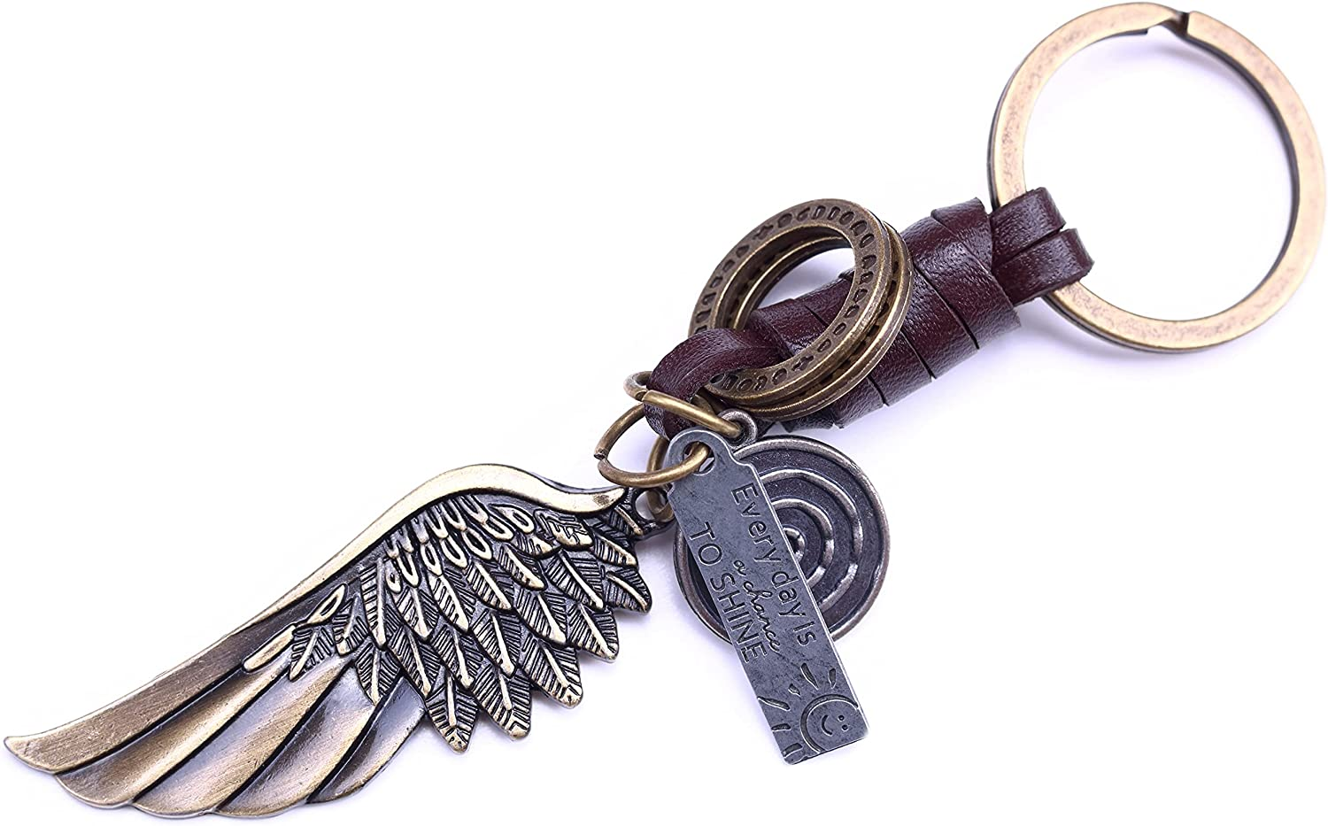 AuPra Guardian Angel Wing Leather KeyChain Best Friend Gift Idea Women Men House Safe KeyRings Girl Boy Friendship Extra Small Present Home Car Key Chain Ring