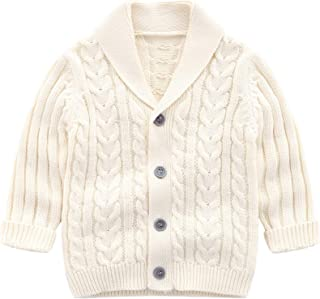 Feidoog Infant Baby Boys Cardigan Crochet Sweater V-Neck,Toddler Knit Button up Knitted Pattern Pullover Sweatshirt Spring