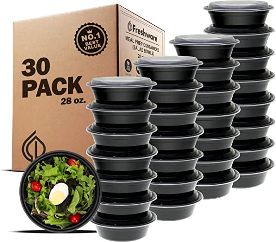 Freshware Meal Prep Containers [30 Pack] Bowls with Lids