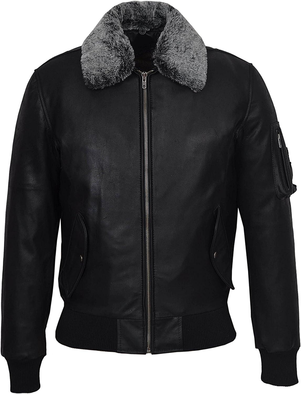 Fur Pilot' Men's Skipper Black Bomber Air Force Real Leather Jacket