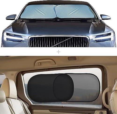"popular EcoNour Gift Bundle | Foldable 2-Piece Sun Shade for Car Windshield Medium (28"" x popular 31"") + Car Side Window Sun Shade 20""x12"" (4 Pack) ( 2 Trans + 2 Semi wholesale Trans) | Complete Sun Protection online sale"