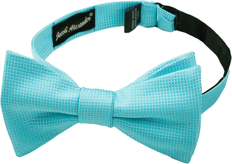 2 Piece Set: Jacob Alexander Men's Woven Subtle Mini Squares Self-Tie Bow Tie and Pocket Square