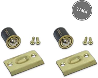 Qualihome Drive-in Closet Door Ball Catch, with Strike Plate (2 Pack Brass)
