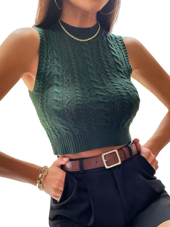 SheIn Women's Sleeveless Mock Neck Crop Sweater Vest Solid Knitwear Tank Tops