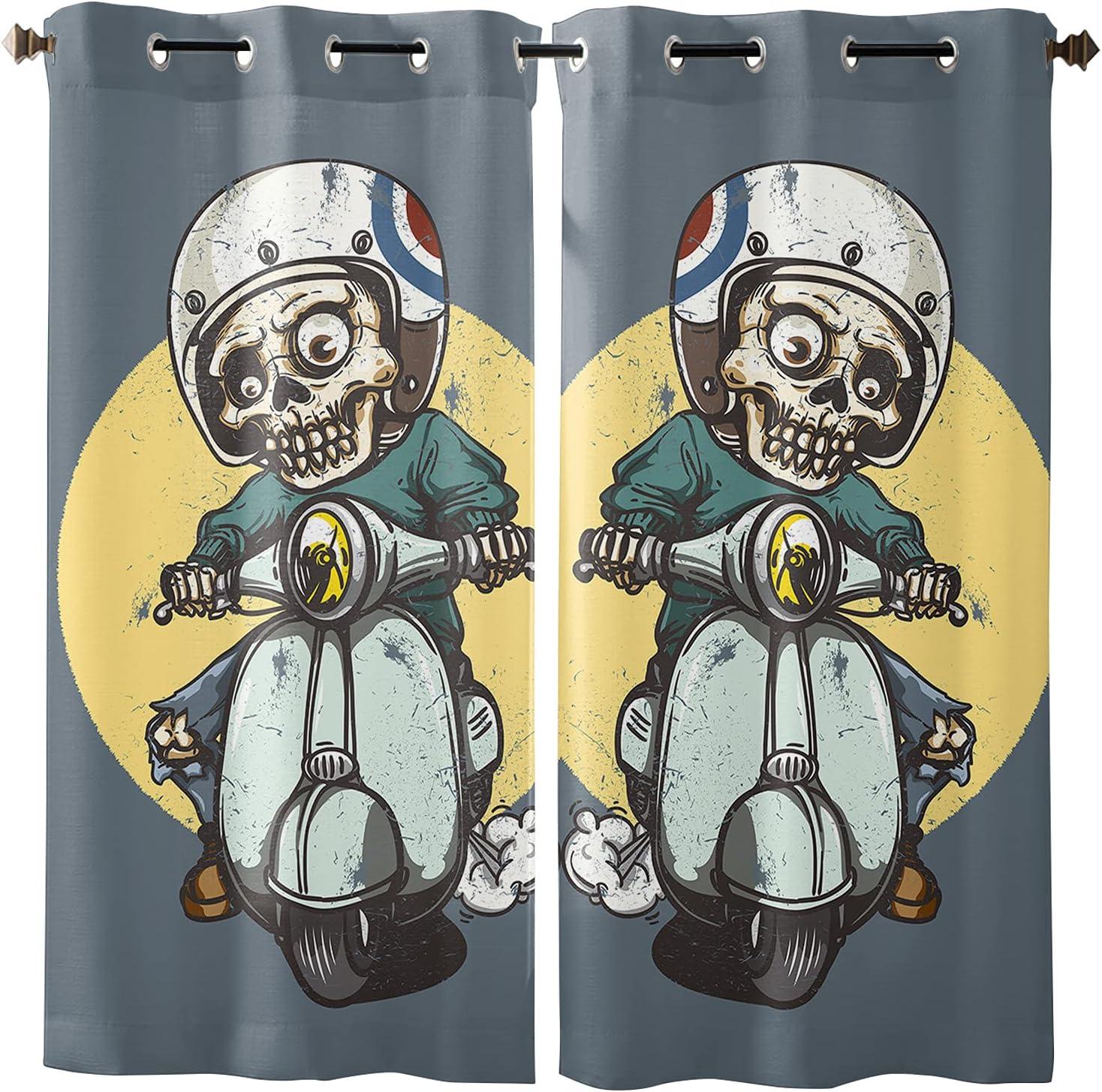 Cartoon Skull Teenager Riding a Motorcycle Rare Curtains o Dallas Mall Set Window