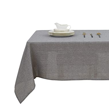 Deconovo Decorative Checkered Faux Linen Burlap Rectangular Table Cloth Waterproof Wrinkle Resistant Tablecloth for Restaurant 54x84 Inches Gray