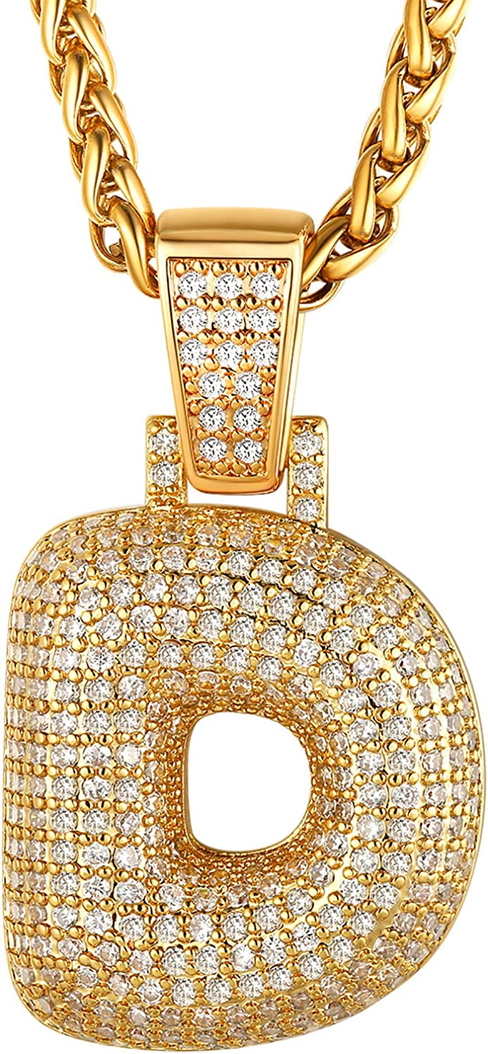 ChainsHouse Bubble Initial Necklace Women Men Platinum/18K Gold Plated Personalized Hip Hop Crystal Customized Iced Out CZ A-Z Letter Pendant with Stainless Steel Rope Chain or Tennis Chain