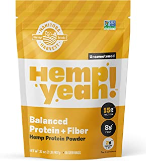 Manitoba Harvest Hemp Yeah! Balanced Protein + Fiber Powder, Unsweetened, 32oz, with 15g protein, 8g Fiber and 2g Omegas 3...