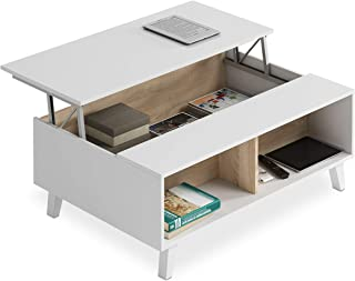 Habitdesign 0F6633BO - Mesa de Centro elevable Comedor salón Color Blanco Brillo y Roble Canadian Medidas: 100x38/48x68 ...